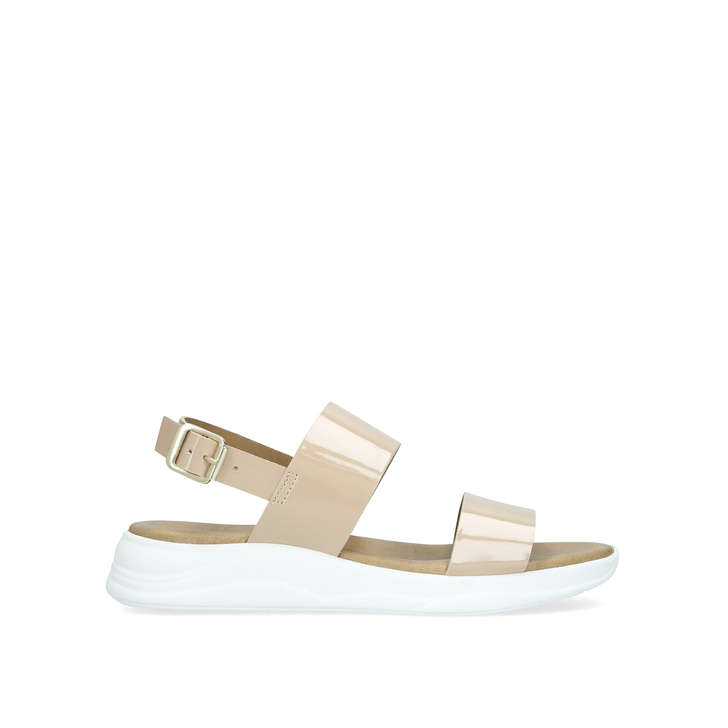 df38c8223d59 Base Nude Patent Flat Wedge Sandals By Carvela