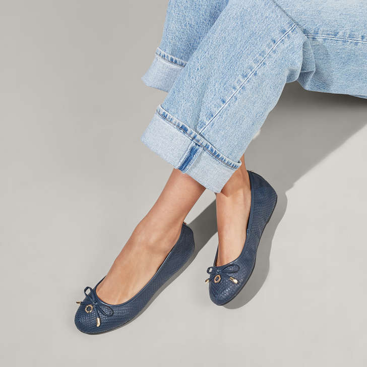 Wide Fit Navy Leather Ballerina Shoes