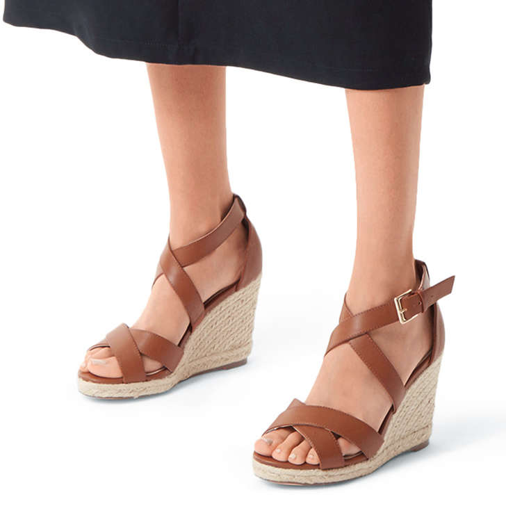 Wide Fit Tan Espadrille Wedge Sandals