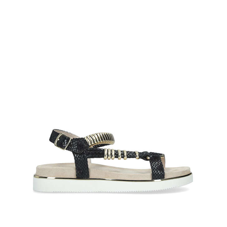 3b2958224 Boujee Black Chunky Embossed Sandals By Carvela | Kurt Geiger