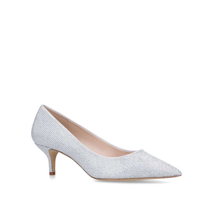 3f606311dba AGRILINIEL Silver Embellished Kitten Heel Court Shoes by ALDO