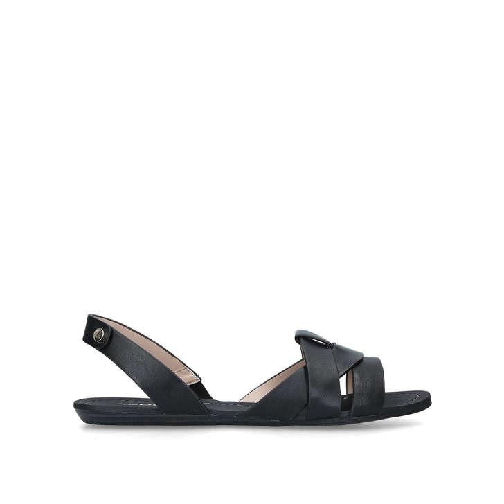 4f58030d13f Deladriewiel Black Leather Flat Pep Toe Sandals By Aldo