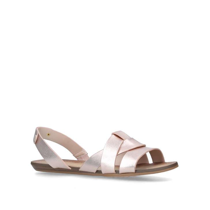 d1da0704571 Deladriewiel Rose Gold Leather Flat Pep Toe Sandals By Aldo