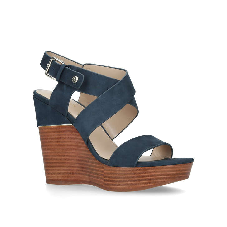 b51c4b6d37a2 Faustina Navy Suede High Heel Wedge Sandals By Aldo