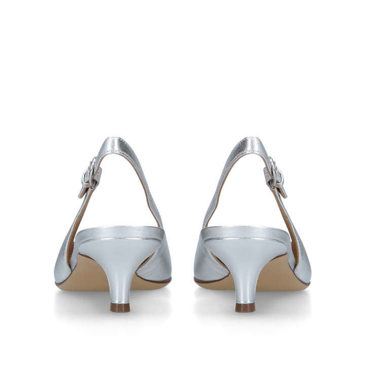 efa11ef868a Peyton Silver Leather Slingback Kitten Heels By Naturalizer