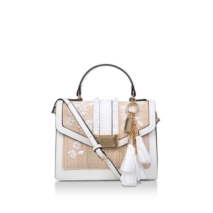 White Embroidered Tassel Cross Body Bag