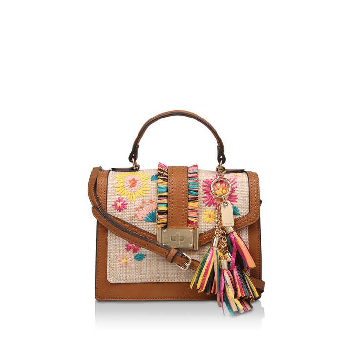 d5d82a63213 Oluniel Brown Embroidered Tassel Cross Body Bag By Aldo