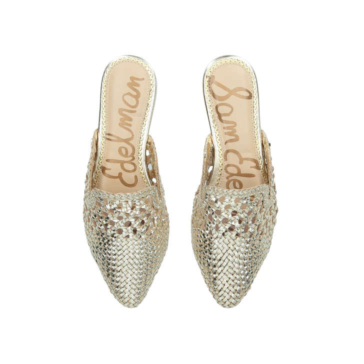 80bd7983d Clara Gold Woven Pointed Flat Mules By Sam Edelman