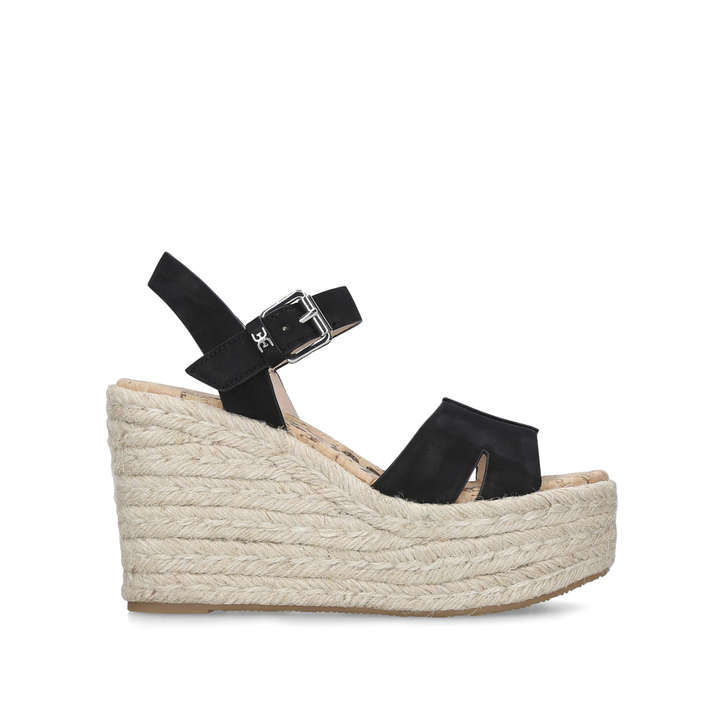 2e278c6d417 Maura Black Leather Espadrille Wedge Heels By Sam Edelman