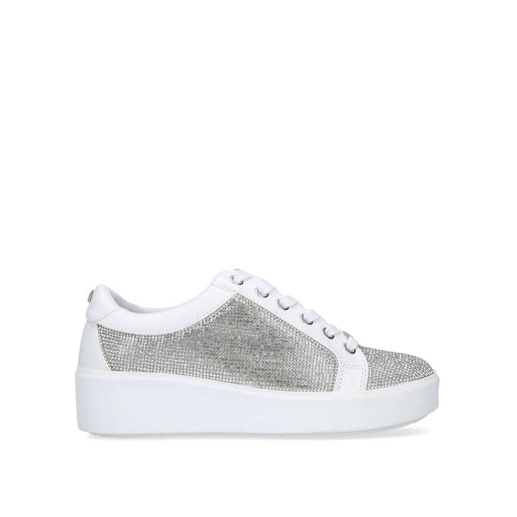 White Embellished Chunky Sneakers