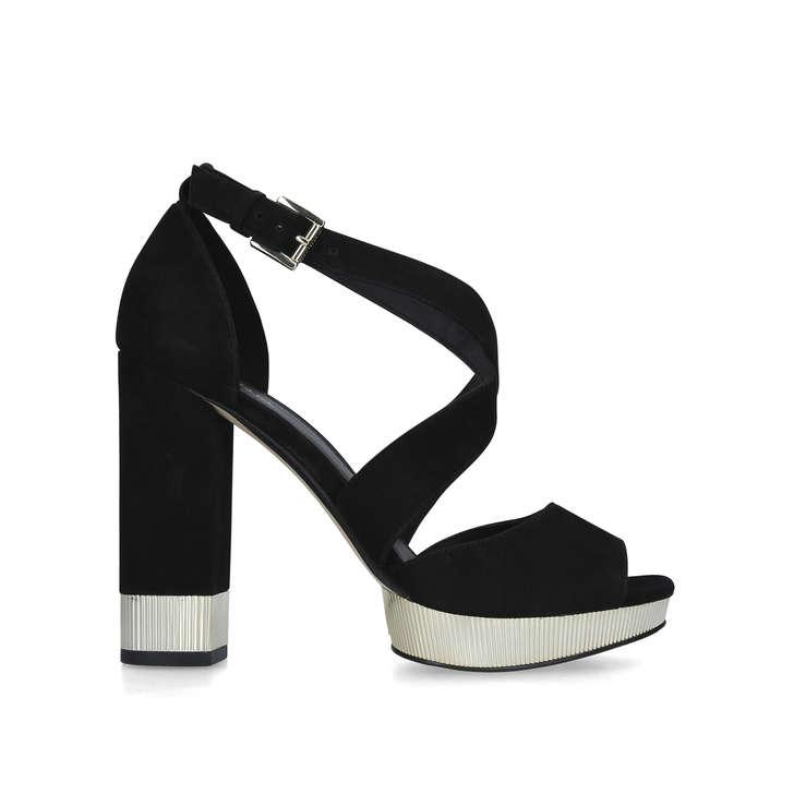 760a85c21bd6 Valerie Platform Black Suede Block Heel Platform Sandals By Michael ...