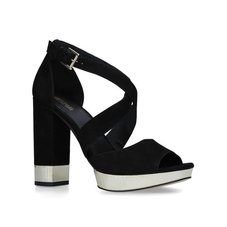 0523ac802ec4 Valerie Platform Black Suede Block Heel Platform Sandals By Michael Michael  Kors