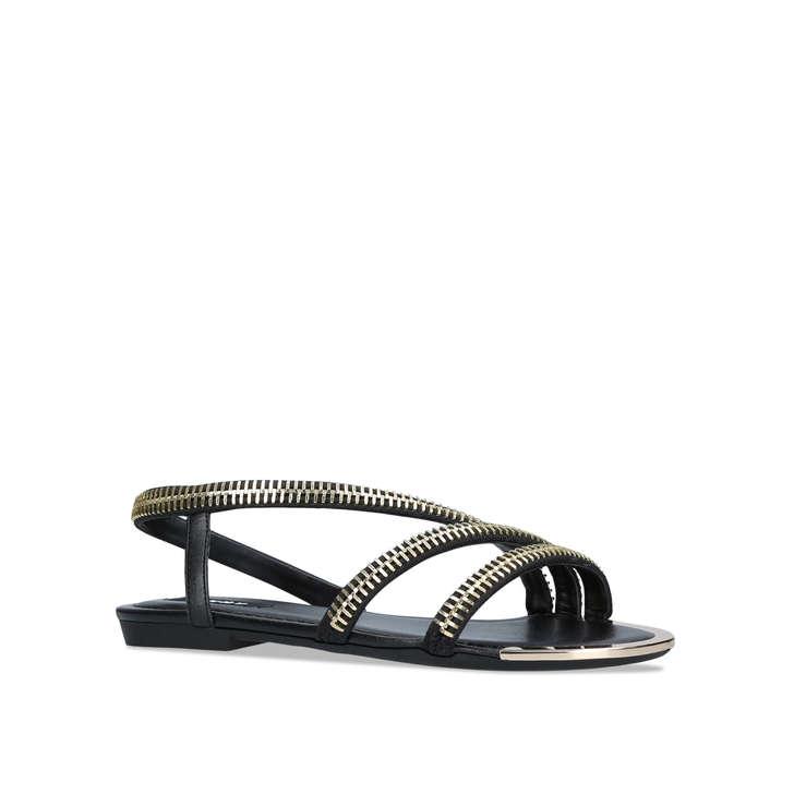 Zip Sandals DknyKurt Geiger Khloi Black Flat By rtsdhCQ