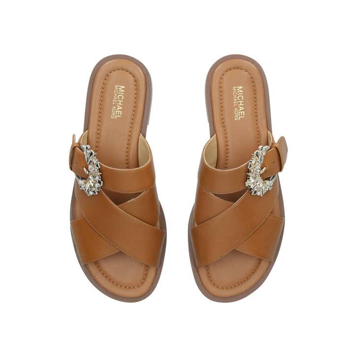 caf1b7662a23 Frieda Slide Brown Embellished Flat Sandals By Michael Michael Kors ...
