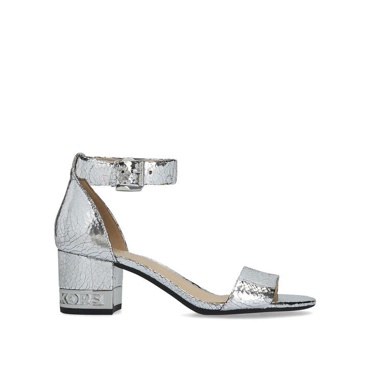 Leather Snake Flex Silver Sandals By Mid Portia Block Heel Skin gy76bf