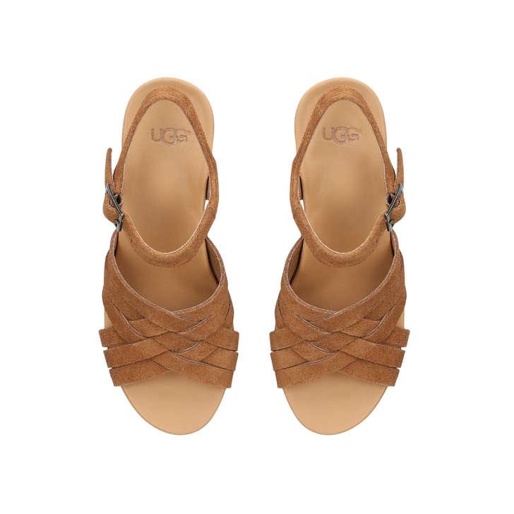 82ac615e8 Uma Tan Suede Wedge Sandals By UGG   Kurt Geiger