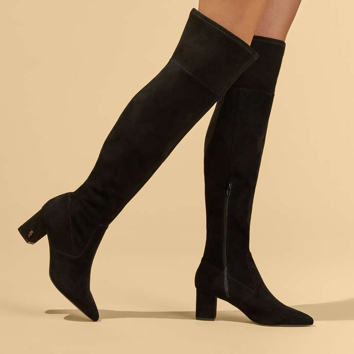 Black Block Heel Over The Knee Boots