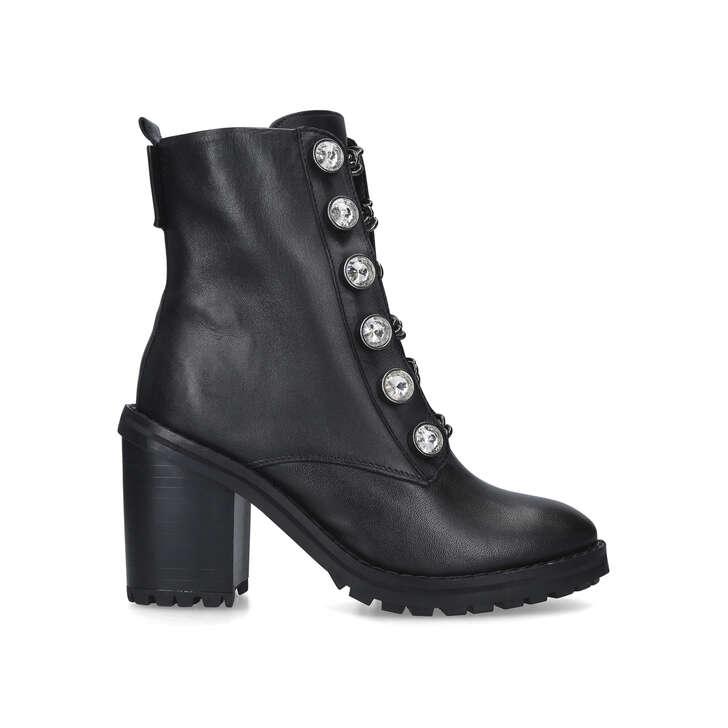 BAX BLOCK Black Studded Block Heel