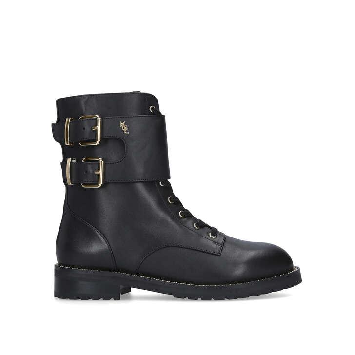 Sutton Black Lace Up Biker Boots By