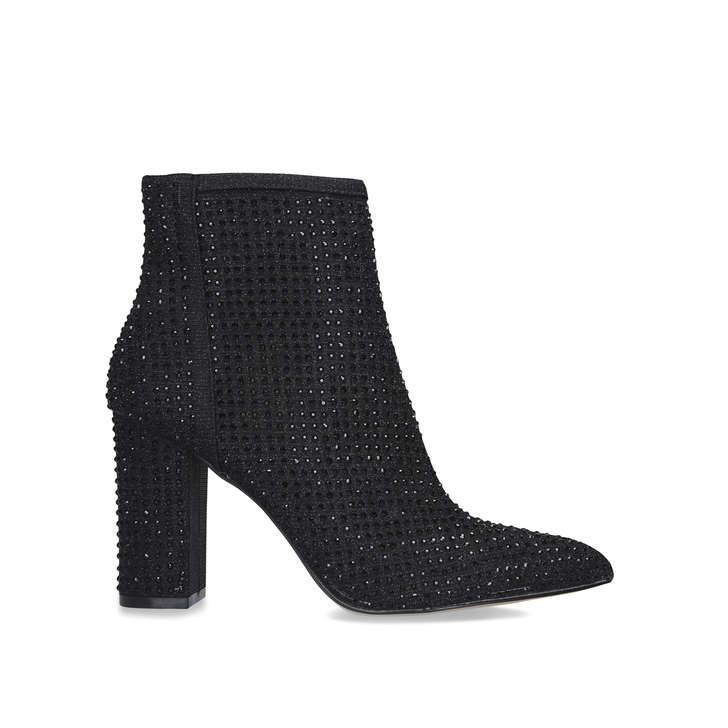 SHINE Black Embellished Block Heel