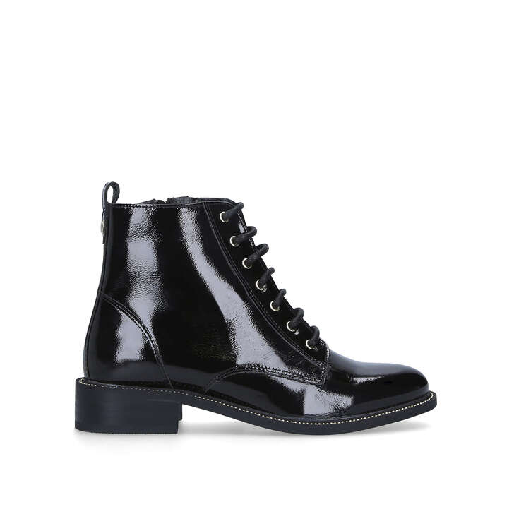 SPIKE Black Patent Lace Up Ankle Boots