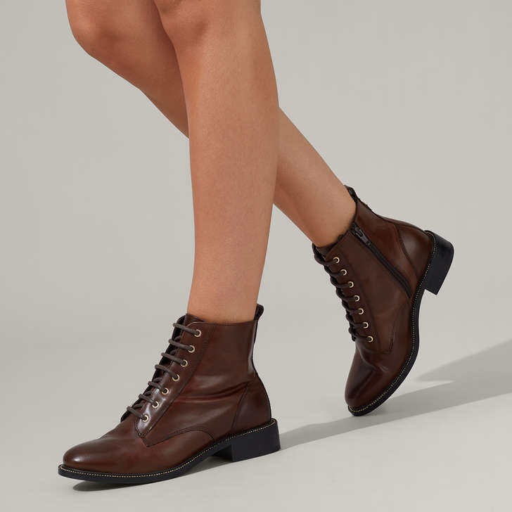 Spike Brown Lace Up Ankle Boots By