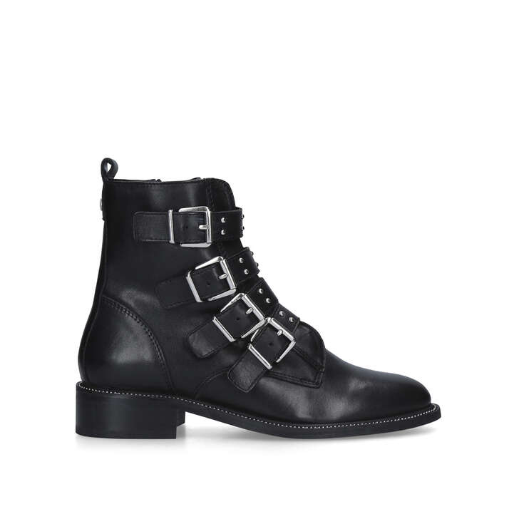 STRAP Black Buckled Biker Boot by