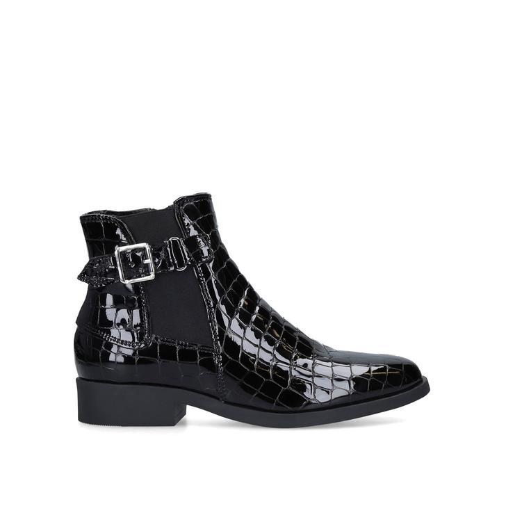 black patent croc ankle boots