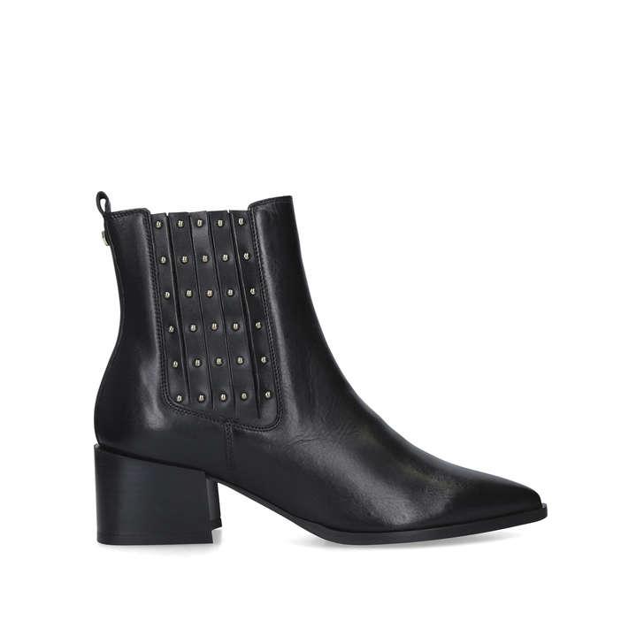 Tingle Black Studded Block Heel Ankle