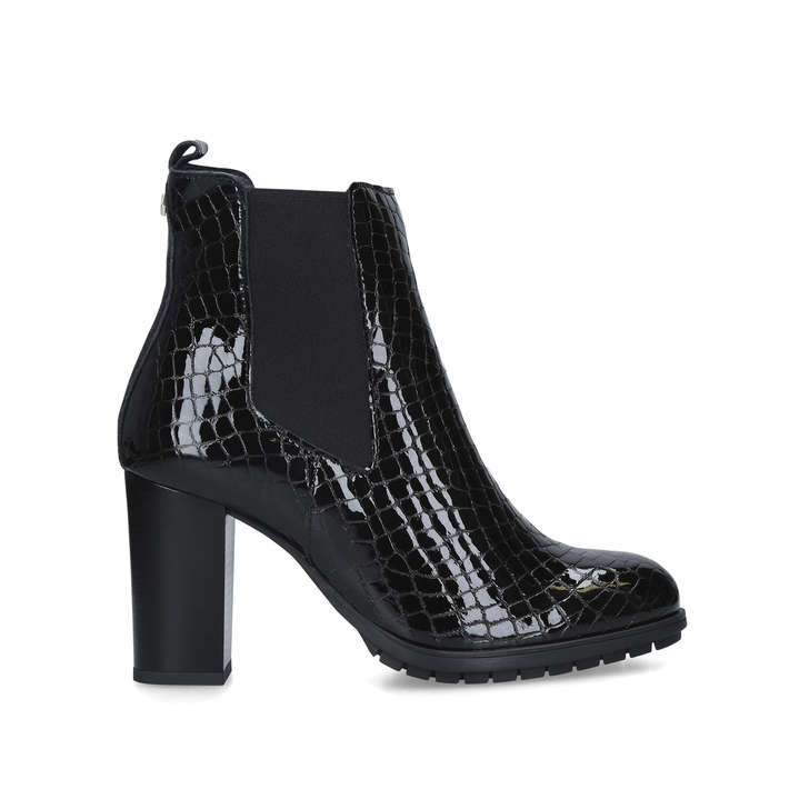 black croc patent boots