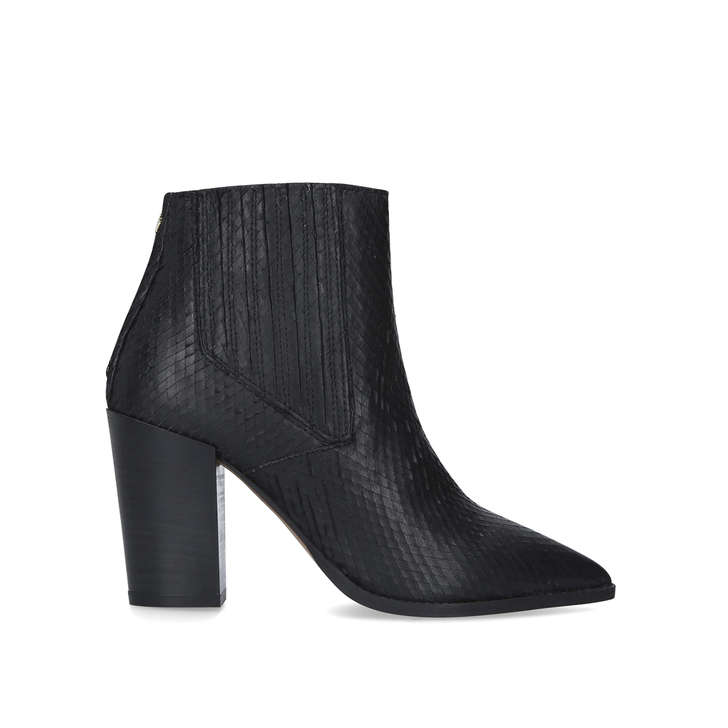 SIZZLE Black Snake Block Heel Ankle