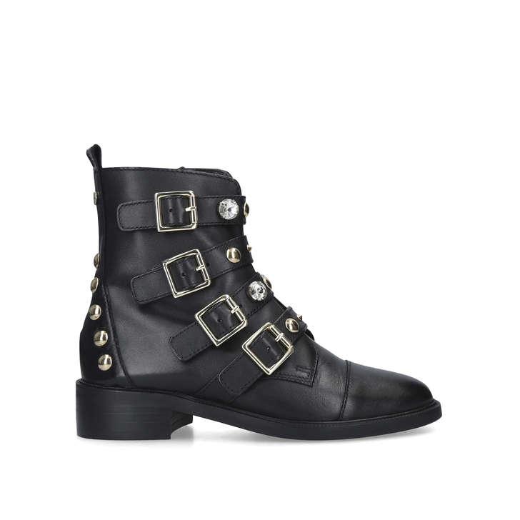 SAUCY Black Studded Biker Boots by