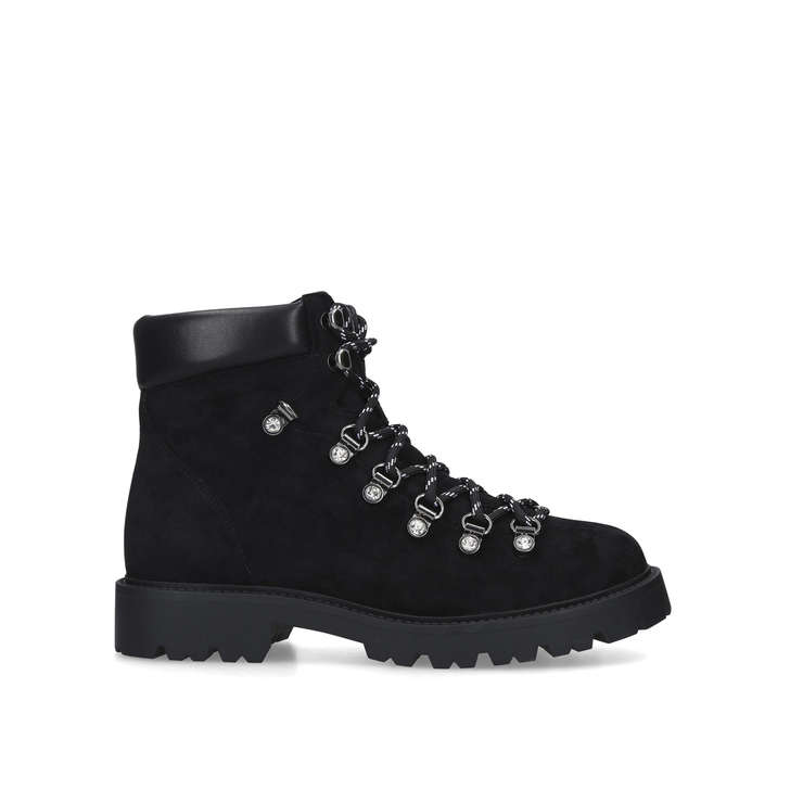 TIMMY Black Chunky Lace Up Hiker Boots