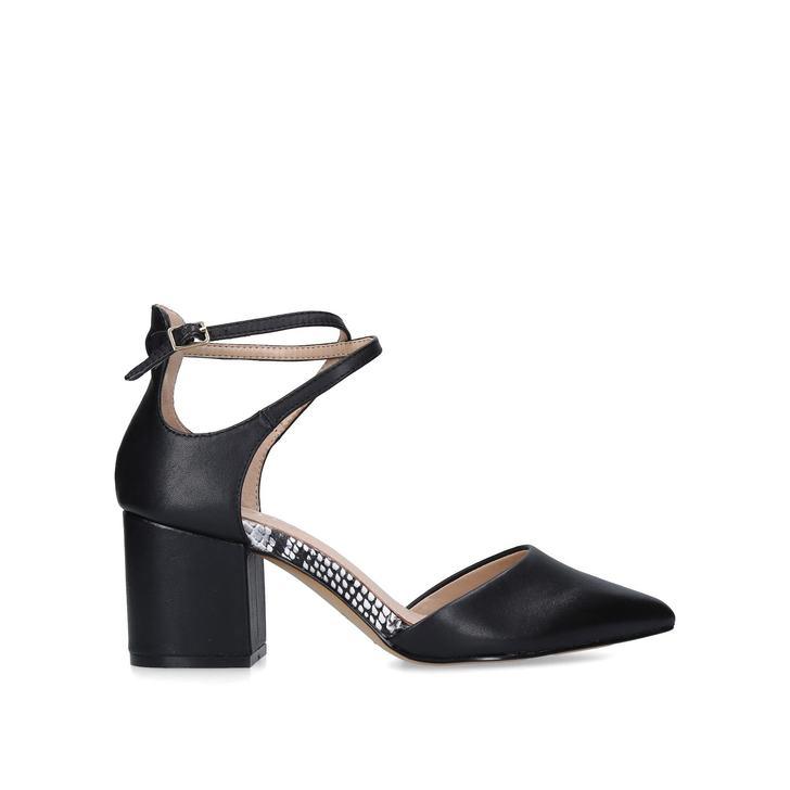 BROOKSHEAR Black Block Heel Courts by