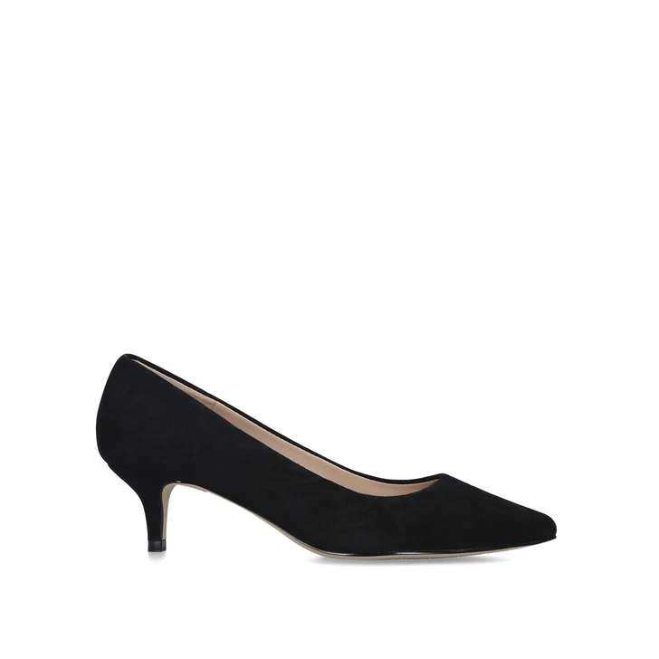 Black Kitten Heel Court Shoes