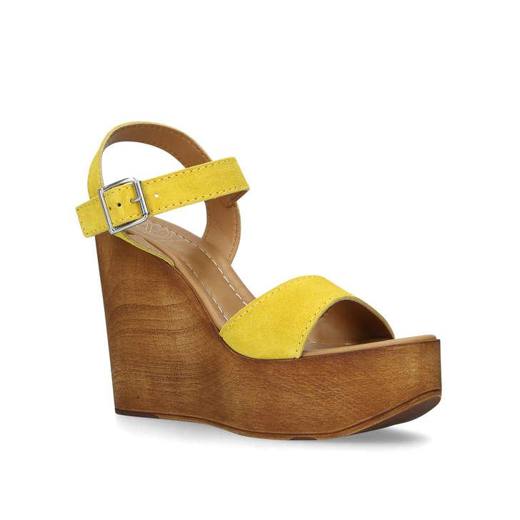fb16b446b Roman Yellow Suede High Heel Wedge Sandals By KG Kurt Geiger | Kurt Geiger