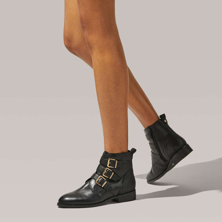 Trio Black Buckle Detail Ankle Boots By