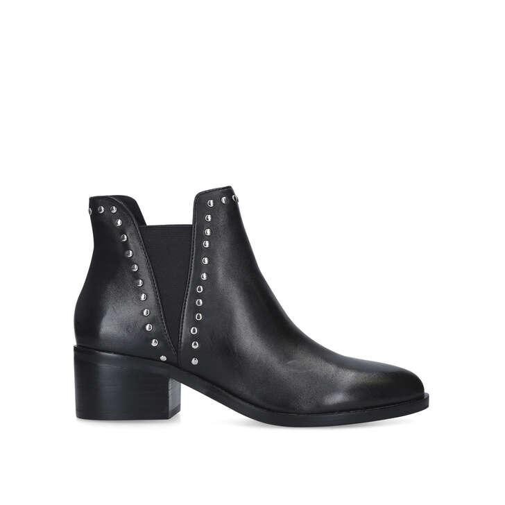 CADE Black Studded Block Heel Ankle