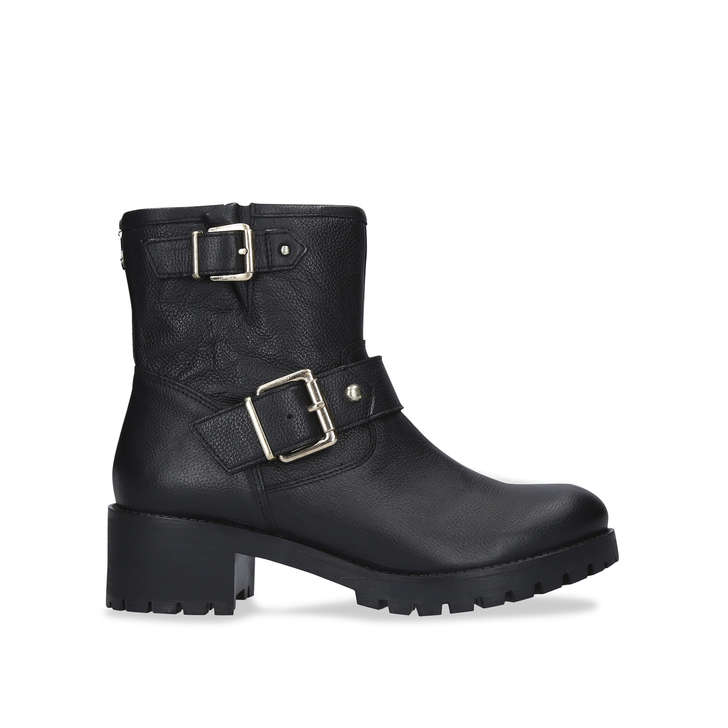 SHOTGUN Black Leather Buckle Ankle