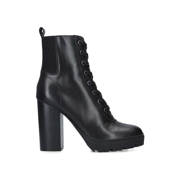 LATCH Black Block Heel Platform Ankle
