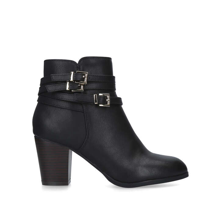 HEIDI Black Block Heel Ankle Boots by
