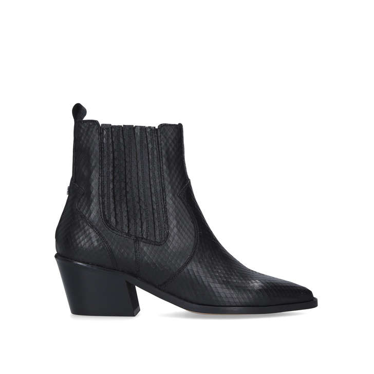 STELLA Black Western Style Ankle Boots
