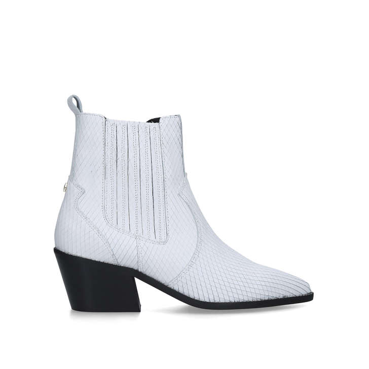 STELLA White Western Style Ankle Boots