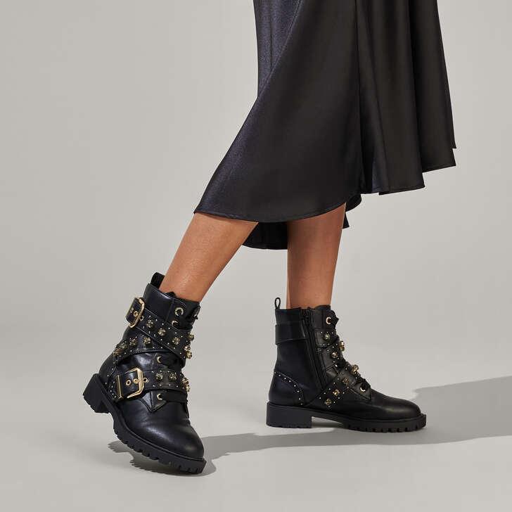 Trixabel Black Studded Biker Boots By
