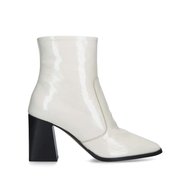SOFTLY Cream Patent Square Toe Ankle