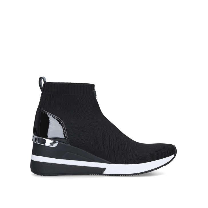 Skyler Bootie Black Wedge Heel Sock