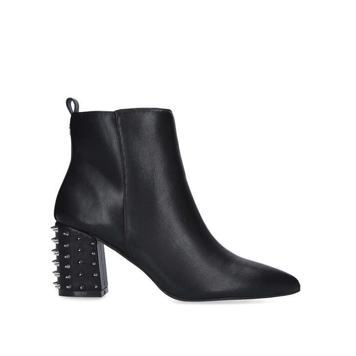 SUKI Black Block Heel Studded Ankle