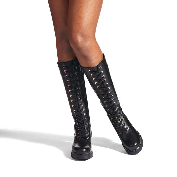Social Black Lace Up High Leg Boots By