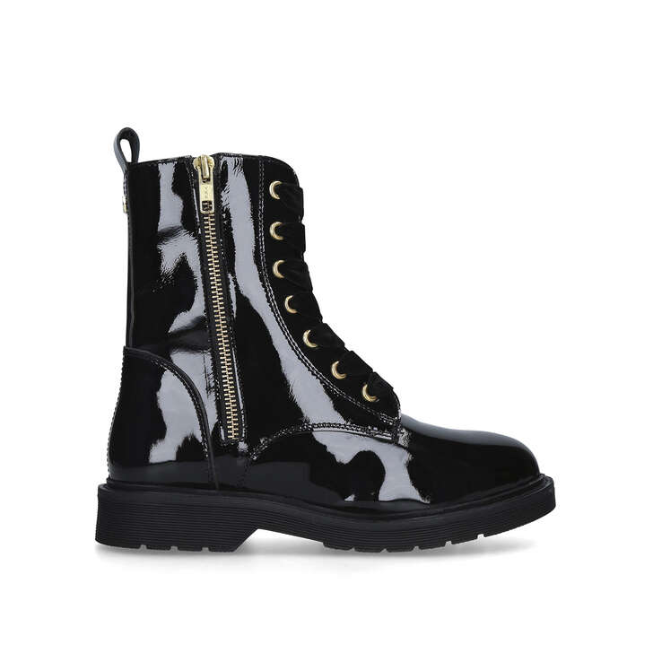 STRATEGY Black Patent Biker Boots by