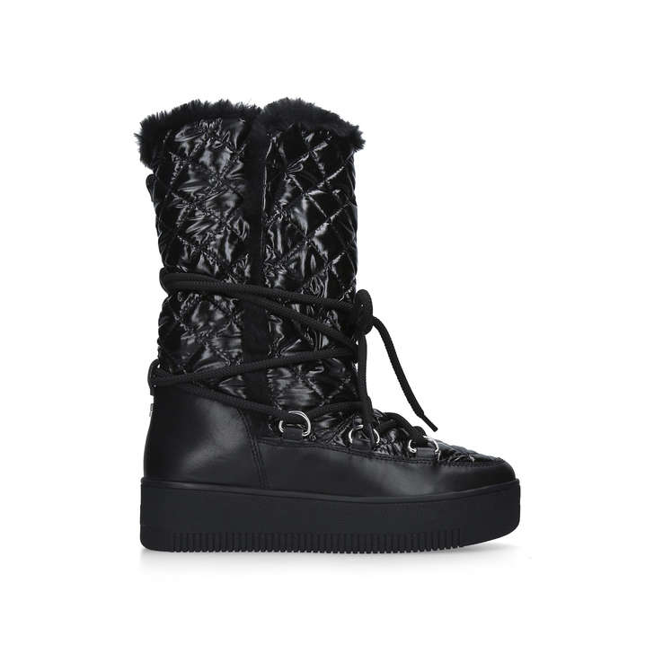 TECHNO Black Patent Quilted Snow Boots